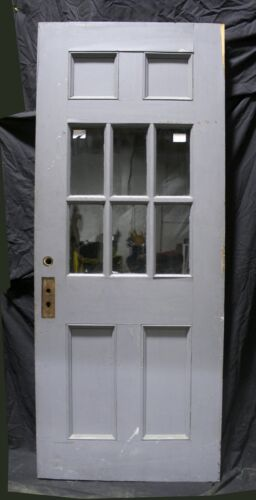 "31.5""x80""x1.75"" Antique Vintage Exterior Wood Wooden Side Back Door Window Glass"