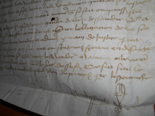 1509 signed antique manuscript law legal vellum leaf document handwritten 16TH C