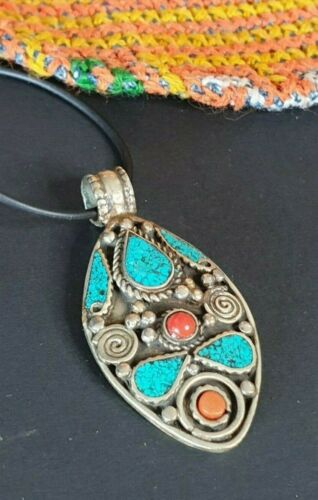Old Tibetan Pendant Necklace with local silver and stones …beautiful collection