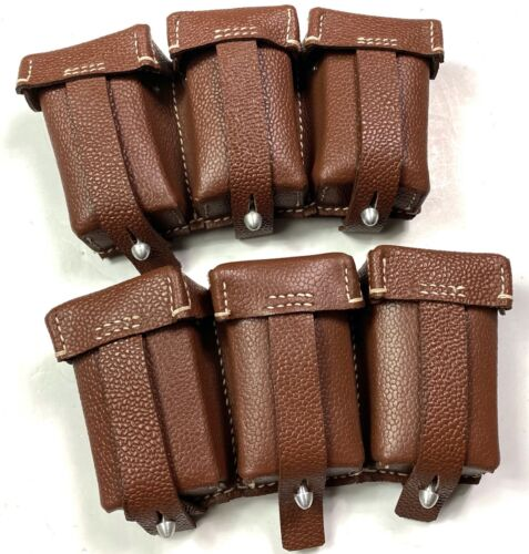 WWII GERMAN K98 98K RIFLE AMMO POUCHES, PAIR-BROWN, 1ST PATTERNGermany - 156432