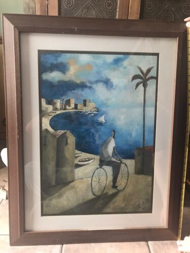 Signed framed lithograph/artwork Lauren C. Beach Front Bicycle Realism