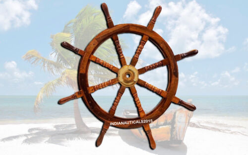 """VINTAGE LARGE 36"""" BOAT SHIP STEERING WHEEL BRASS CENTER NAUTICAL WALL DECOR"""