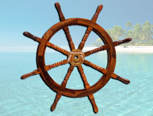 """VINTAGE LARGE 42"""" BOAT SHIP STEERING WHEEL BRASS CENTER NAUTICAL WALL DECOR"""