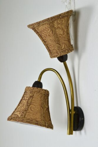 Mid Century Danish Wall lamp brass twin shade sconce reading light bed side