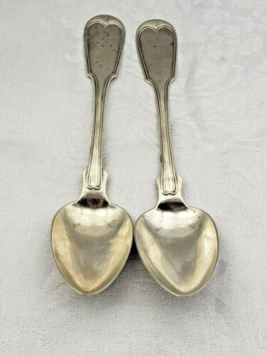 2 Monogrammed Coin Silver Fiddle Shell Pattern Dated 1852 Soup Spoons 9068