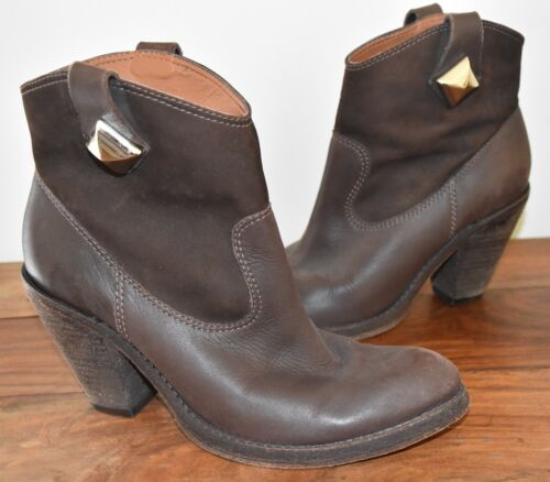 SCHUTZ Brown Leather Ankle Boots - Size 7.5 - EUC
