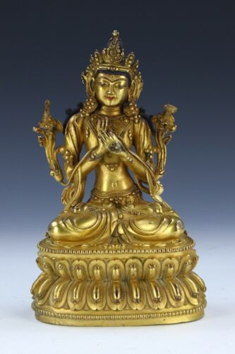 A CHINESE ANTIQUE GILT BRONZE FIGURE OF MANJUSHRI