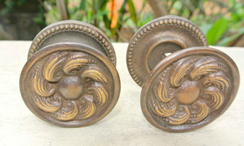 """2 heavy handle KNOB aged old solid Brass PULL large knobs kitchen 2"""" georgian"""