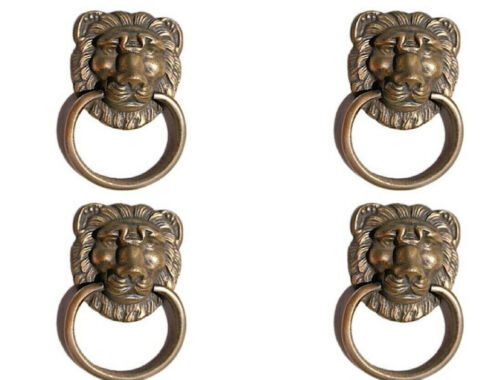 """4 PULLS handles Small heavy LION 1676 BRASS old style screws house antiques 2"""""""