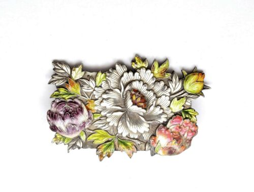 1930's Japanese Solid Silver Enamel Peony Flowers Pin Brooch