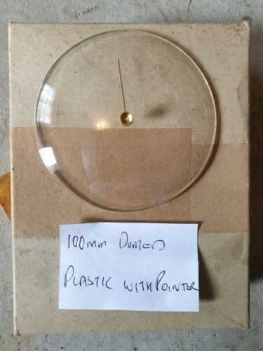 Barometer replacement glass (plastic) 100mm domed with brass pointer knob