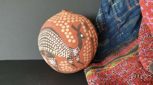 Old Australian Aboriginal Dot Painted Kimberley Boab Nut …beautiful display and