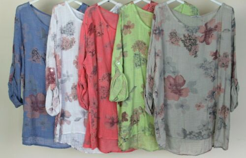 LADIES ITALIAN QUIRKY LAGENLOOK FLORAL PRINT LIGHTWEIGHT COMFY CASUAL TUNIC TOP