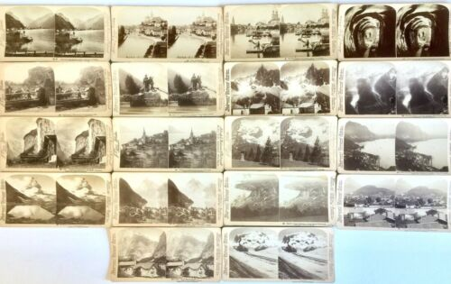 18 ANTIQUE 1890's SWITZERLAND STEREOSCOPIC PHOTOGRAPHS 3-D STEREOVIEW CARDS