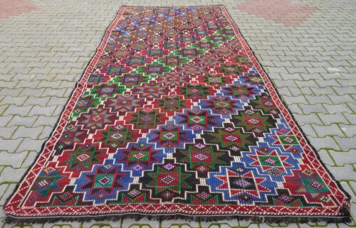 "6x13 Rug Turkish Rug Vintage Hand Woven Goat Hair Braided Kilim Actual:72""x162"""