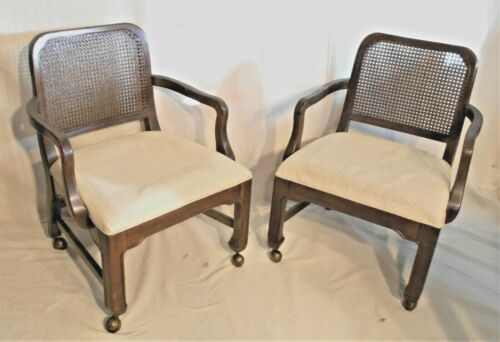 PAIR OF MID CENTURY JAMES MONT CANE BACK ASIAN STYLE ARMCHAIRS