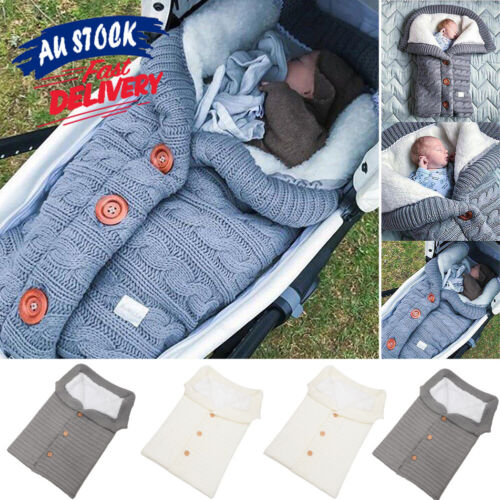 Winter Wrap Thick Sleeping Bags Baby Swaddle Blanket Warm Infant Stroller Knit