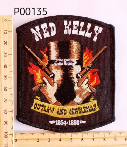 P00135 Ned Kelly Outlaw... Iron-on Cloth Patch