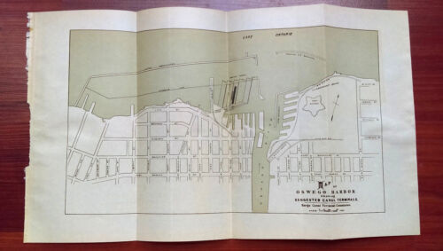 1911 Map of Oswego Harbor New York Suggested Canal Terminals with Railroads