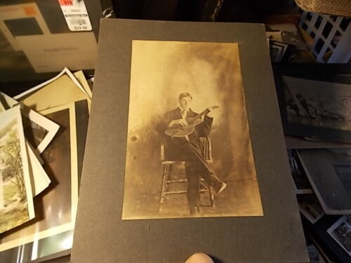 VINT CABINET PHOTO, YOUNG MAN PLAYING HIS GUITAR