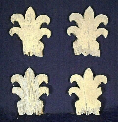 SET OF 4 CARVED WOOD FLEUR DE LIS ARCHITECTURAL ELEMENTS IN OLD YELLOW PAINT