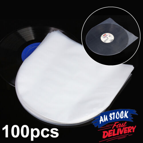 100pc Record Cover Inner Plastic Vinyl Record Sleeves LP Music Durable for 12""