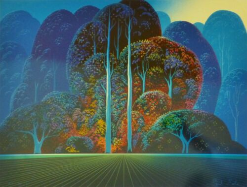 """Eyvind Earle """"SOFTENING SHADES OF TWILIGHT"""" Hand signed numbered Serigraph 1993"""
