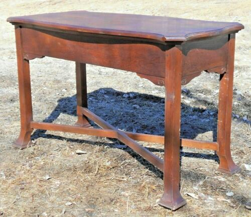ANTIQUE 19th CENTURY ANGLO-INDIA SHAPED TOP MAHOGANY CONSOLE TABLE