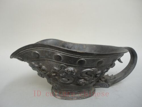 Rare Collection China Ancient Copper Dragon Cup or Brush wash Worthy Decoration