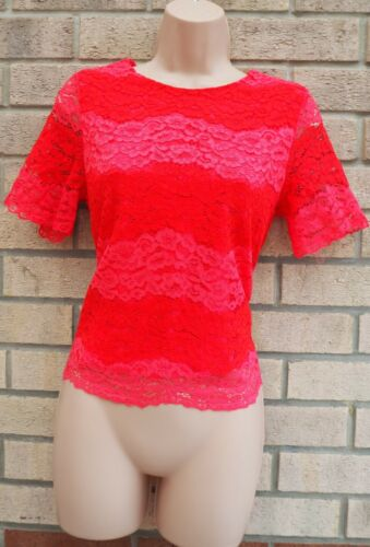 GALLERY PINK RED FLORAL LACE STRIPED SHORT SLEEVE BLOUSE T SHIRT TOP 8 10 S