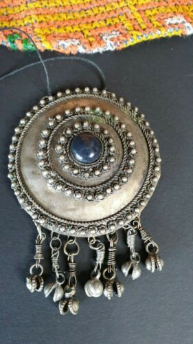 Old Tibetan Tribal Pendant in Local Silver with Blue Stone on Black Cord…