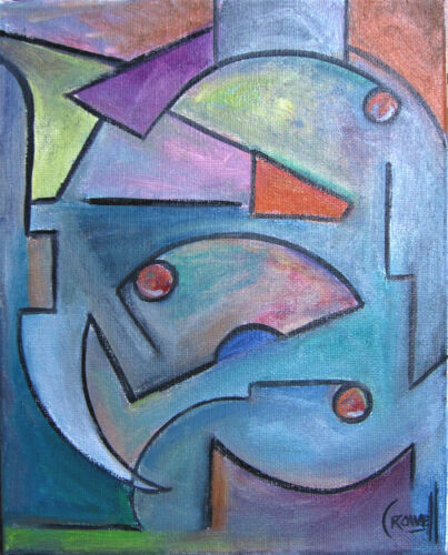 abstract SIXTH Dimension 8x10 canvas modern original art painting signed Crowell