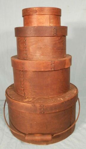 ANTIQUE SET OF FOUR 19th CENTURY ROUND NESTING PANTRY BOXES