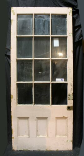 "37""x90""x1.75 Antique Vintage Exterior Wood Wooden French Entry Door Window Glass"
