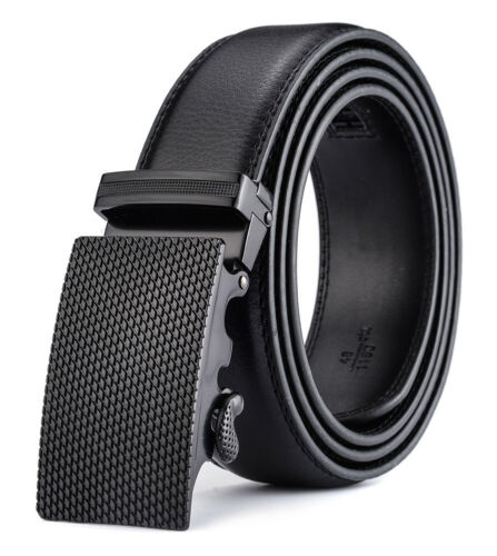XHtang Mens Automatic Buckle Ratchet Belt Black Genuine Leather Waistband Jeans