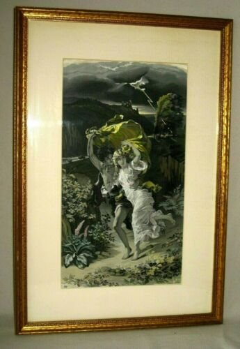 FRAMED PIERRE AUGUSTE COT THE STORM TAPESTRY SILK STEVEGRAPH by NEYRET FRERES