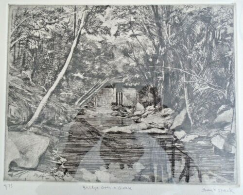 Frank Stack Signed Bridge Over A Creek Etching (Robert Crumb contemporary)