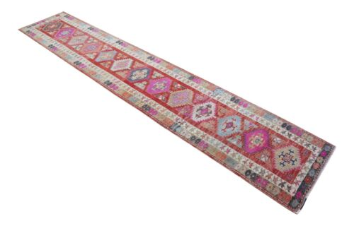 3x15 ft Runner Turkish Rug Hand Knotted Tribal Floral Runner Rug Actual 34″x184″