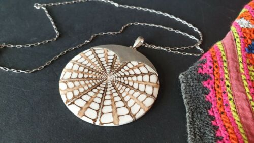 Old Fossil Pendant in 925 Silver Mount on Silver Chain …beautiful accent piece