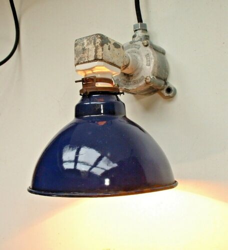 "1920 Crouse-Hinds Cobalt Blue 8"" Sconce Vtg Industrial Factory Light Corded"