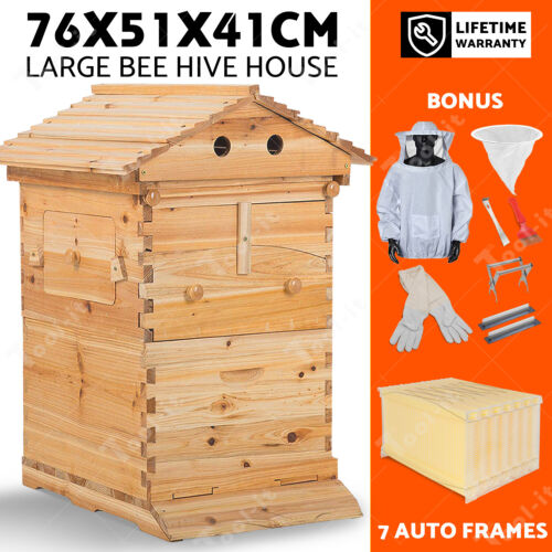 2020 Upgraded Wooden Beekeeping Beehive House +7 PCS Auto Bee Comb Hive Frames