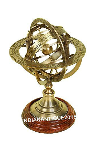 "5"" Solid Brass Sphere Armillary Collectible Nautical Decor Wooden Base"
