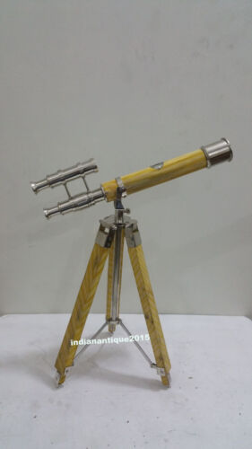 Vintage  Antique Brass Yellow  Desk Telescope With Adjustable Wooden Tripod