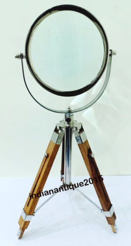Nautical Antique Maritime Magnifying Glass Wooden stand Magnifier Desk