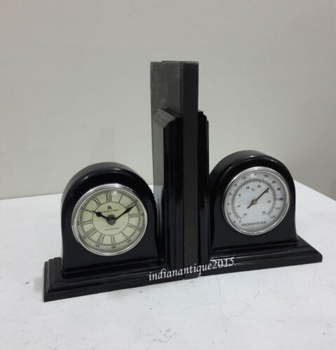 Vintage Clock & Thermometer Bookend  HOME Handmade Library decor BOOKENDS