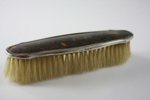 ANTIQUE c.1902 MELBOURNE D RUMMOUN & Co HORN INLAID BRUSH STERLING SILVER TOP