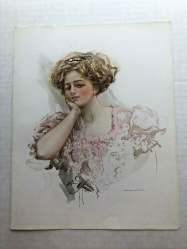 Real Vintage 1909 Harrison Fisher Victorian Woman 9 x 11