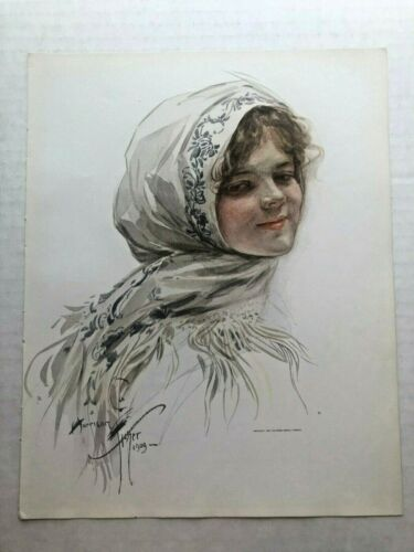 Real Vintage 1909 Harrison Fisher Victorian Woman with Scarf 9 x 11