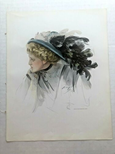 Real Vintage 1909 Harrison Fisher Victorian Woman with Big Hat 9 x 11