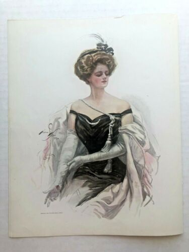 Real Vintage 1909 Harrison Fisher Victorian Woman in Gloves Picture 9 x 11
